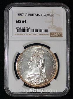 Ngc Ms64 1887 Grande-bretagne Queen Victoria Silver Crown