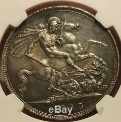 Ngc Unc 1893 LVI Royaume-uni Grande-bretagne Victoria 1 Couronne Silver Coin
