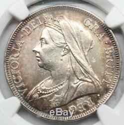 Ngc Unc Uk Grande-bretagne 1901 Victoria Demi 1/2 Crown Piece En Argent Belle