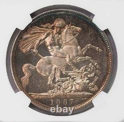Ngc-pf63uc 1887 Épouvantail De La Couronne De Grande-bretagne Type De Preuve Tonique