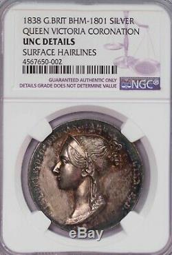 Ngc-uncd 1838 Grande-bretagne Reine Victoria Médaille Du Couronnement D'argent