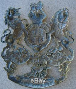 Original 1880s-90s Victorienne Plate Couronne Britannique Artillerie Casque