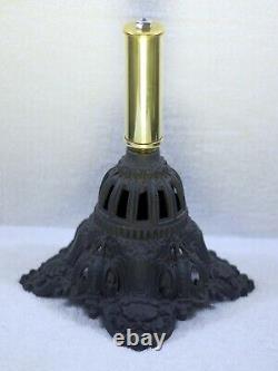 Ornate Pierced Crown Cast Iron & Brass Column Kerosene Oil Lamp Base