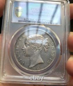 Pcgs Au53 Grande-bretagne Royaume-uni 1845 Reine Victoria Silver Coin 1 Couronne