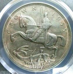 Pcgs Au58 Gold Shield-grande-bretagne 1935 George V Silver One Crown Almost Unc