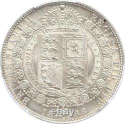 Pcgs Grande-bretagne Ms 63 1888 1/2 Couronne Victoria Jubilee Halfcrown