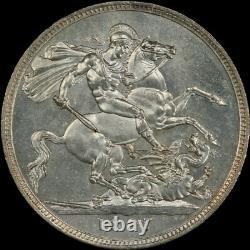 Pcgs Ms62 1887 Grande-bretagne Queen Victoria Silver Crown