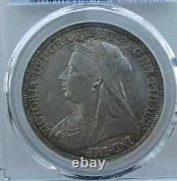 Pcgs Ms62 Grande-bretagne Royaume-uni 1896 Reine Victoria Argent Monnaie 1 Couronne