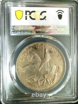 Pcgs Ms63 Gold Shield-grande-bretagne 1935 George V Silver One Crown Bu Rare
