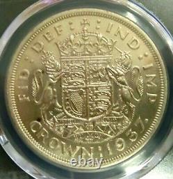 Pcgs Ms63 Gold Shield-grande-bretagne 1937 George VI Argent One Crown Bu Rare