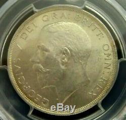 Pcgs Ms64 Shield Gold-grande-bretagne 1922 George V Argent 1/2 Couronne Choicebu Rare
