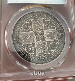 Pcgs Pr61 Grande-bretagne Royaume-uni 1847 Reine Victoria Gothique Preuve Argent Monnaie 1 Couronne
