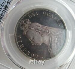 Pcgs Pr63 Grande-bretagne Royaume-uni 1887 Victoria Proof Silver Coin 1/2 Crown Half Crown
