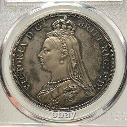 Pcgs-pr64 Grande-bretagne 1887 Victoria Crown Silver Coin