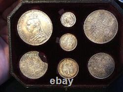 Rare 1887 Q/victoria Silver Proof Jubilee Issue Couronne À 3d 7 Pièce Mise Dans Le Cas
