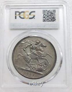 Rare Grande-bretagne 1887 Reine Victoria Crown Silver Coin Pcgs Pr63