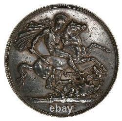Raw 1895 Grande-bretagne 1 Couronne LIX Rim Pièce D'argent Non Certifiée Non Dégradée