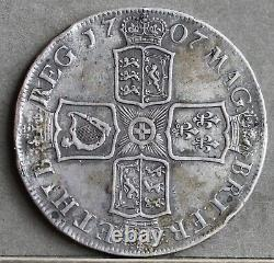 Reine Anne Sterling Silver Crown, 1707 E, Édimbourg Mint. Sexto Edge. Vf+