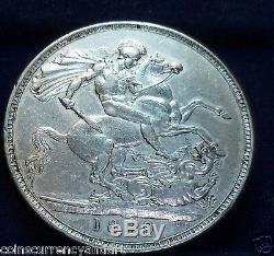 Royaume-uni 1889 Couronne / Grande-bretagne Pièce D'argent De La Reine Victoria Jubilee Head