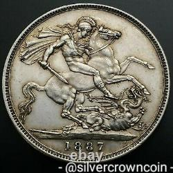 Scc Grande-bretagne Royaume-uni 1 Couronne 1887. Km#765,925 Pièce En Argent. Q. Victoria