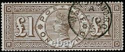 Sg185, Rare £1 Brun-lilas, Très Fine Utilisé, Cds. Chat 3000. Couronnes Wmk. Rd