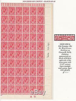 Sg328 1911 1d. Carmine Pâle. Die 1a. Wmk Couronne. Non Croix De La Couronne Rangée 16/8