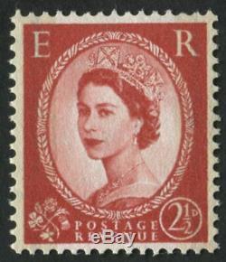 Sg606var 1959 Luminophore Graphite 2 1 / 2d Rouge Carmin, Erreur De Couronne Wmk E R, U / M