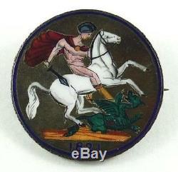 Superbe Roi George IV / IIII 1821 Silver Crown Émaillé Coin Pin