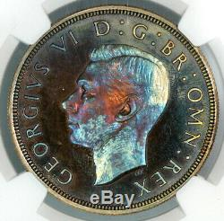 Tonifiée Ngc Pf64 1937 Grande-bretagne Preuve Argent Couronne (bc05)