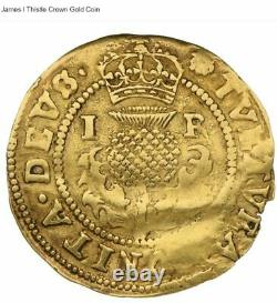 Très Rare Gold Thistle Crown, Avec James I D'angleterre