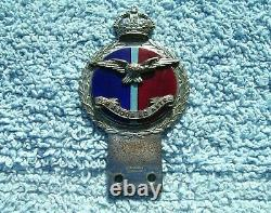 Vintage Années 1940 Royal Air Force Car Bumper Badge King's Crown Raf Pilote Jr Gaunt