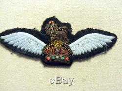Wwii D'origine Britannique Planeur Pilotes Ailes Robe Bullion Kings Crown & Lion