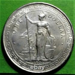 Xf+, Grande-bretagne, Bombay, Dollar Commercial, 1901, Km#t5, Argent