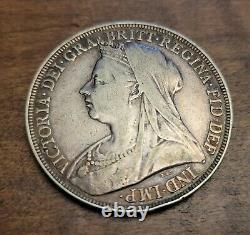 Xf/au 1896 LX Grande-bretagne 1 Crown GB Uk Silver Coin Reine Victoria